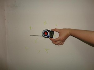 Detector showing the location of microphones hidden behind a wall in the apartment of blogger Nguyen Van Dai.