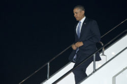 President Obama as he arrives at Haneda International Airport in Tokyo on Wednesday. Associated Press