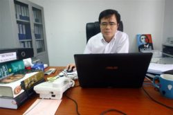 Le Quoc Quan, one of Vietnams better-known dissidents and a leading blogger, works at his office in Hanoi, Vietnam.