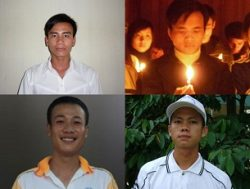 Clockwise from top left, Catholic activists Chu Manh Son, Dau Van Duong, Hoang Phong, and Tran Huu Duc, in undated photos. Photo courtesy of Thanh Nien Cong Giao via HRW