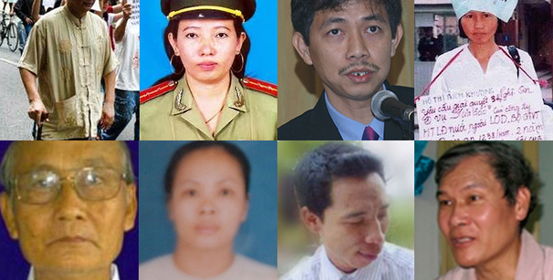 Eight Vietnamese bloggers and activists imprisoned for exercising basic rights. Clockwise from upper left: bloggers Nguyen Quang Lap (© 2014 Private), Ta Phong Tan (© Ta Phong Tan), Tran Huynh Duy Thuc (© Tran Huynh Duy Thuc & family), Ho Thi Bich Khuong (© Ho Thi Bich Khuong), religious activists Nguyen Van Lia (© private), Mai Thi Dung (© Mai Thi Dung & family), Dang Xuan Dieu (© Thanh nien Cong giao); and Father Nguyen Van Ly (© 2010 Reuters).