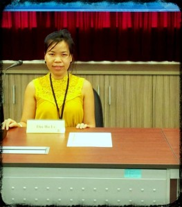 Miss Le Thu Ha at a local seminar  on human rights issues