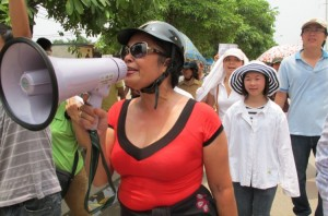 Mrs. Hang at an anti-China protest in Hanoi in 2011