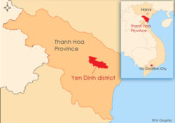 the map shows yen dinh dictrict in thanh hoa province