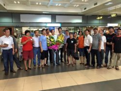 Lawyer Quan welcomed by activists at Noi Bai International Airport onlate June 27
