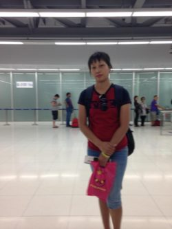Ms. Mai Thanh at Noi Bai Airport on Thursday