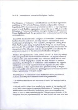 Thich Khong Tanhs letter to The US commission for International Religious Freedom