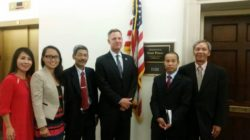 Mr. Tam (second from right) and other Vietnamese activists at a reception given by U.S. Congressman Scott Peters in Washington in June 2015