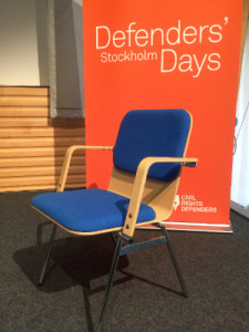 The empty chair symbolises all those human rights defenders who could not join us at Defenders Days including the 2015 recipient Ms. Nguyễn Ngọc Như Quỳnh