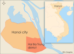 The map shows Hai Ba Trung district in Hanoi, Vietnam.