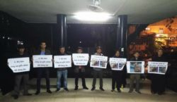 Hanoi-based activists gather in Bach Mai Hospital on late Oct. 10 evening to demand justice for Do Dang Du