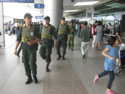 Security forces patrol in Tan Son Nhat Intl Airport