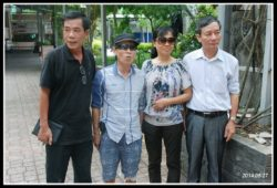 Writer Nguyen Tuong Thuy (first from right) and activist Truong Van Dung (second from left)