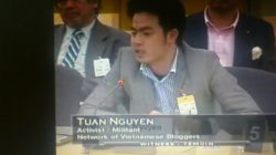 Mr. Nguyen Anh Tuan at a UN hearing on human rights violations in Vietnam