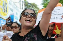 Ms. Bui Thi Minh Hang at one of numerous peaceful anti-China protests in Hanoi