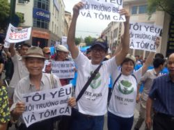 Peaceful demonstration on environmental issues in Hanoi on May 1, 2016