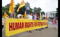 People protest for human rights and democracy in Vietnam outside the White House in 2015 in Washington. (CNS/Michael Reynolds, EPA)