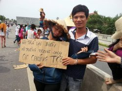 Mr. Mai Van Tam at a demonstration against Formosa